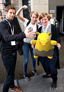 Rare Appearance of Three Digital Humanists Trying to Catch a Drowzee That Spawned in the Foyer of the Jagiellonian University, Krakow, Poland